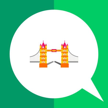Tower Bridge vector icon. Multicolored illustration of famous bridge in London Illustration