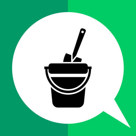 Vector icon of toy bucket and spade Illustration