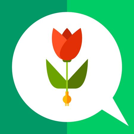 red tulip: Multicolored vector icon of red tulip with bulb