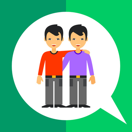 male friends: Multicolored vector icon of two male friends smiling and hugging each other with one hand