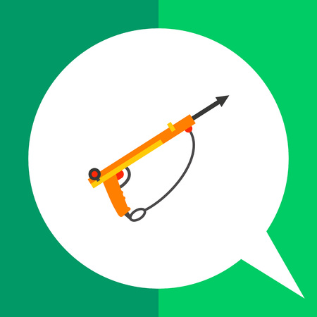 speargun: Multicolored vector icon of speargun for underwater hunting
