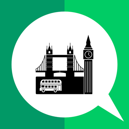 Monochrome vector icon of view of London with double-decker, Big Ben and Tower Bridge