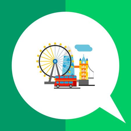 moveable: United Kingdom vector icon. Multicolored illustration of top tourist attractions in United Kingdom