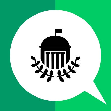 tertiary: Monochrome vector icon of university building with dome, flag, columns and laurel leaves Illustration