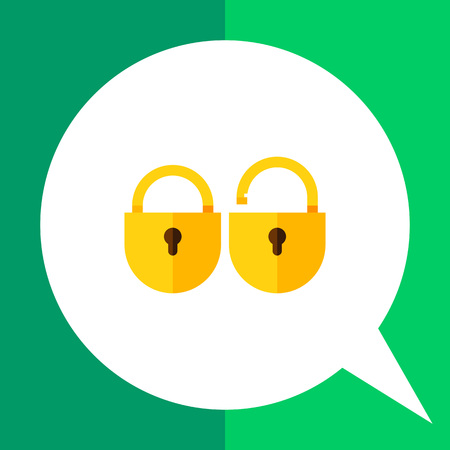 alertness: Multicolored vector icon of two locks, locked and unlocked Illustration