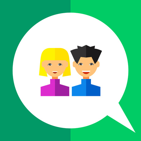 username: Multicolored vector icon of young man and woman representing users Illustration