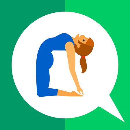 ushtrasana: Multicolored vector icon of woman doing yoga in ustrasana pose, side view