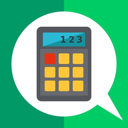 Multicolored vector icon of calculator with buttons, isolated on white