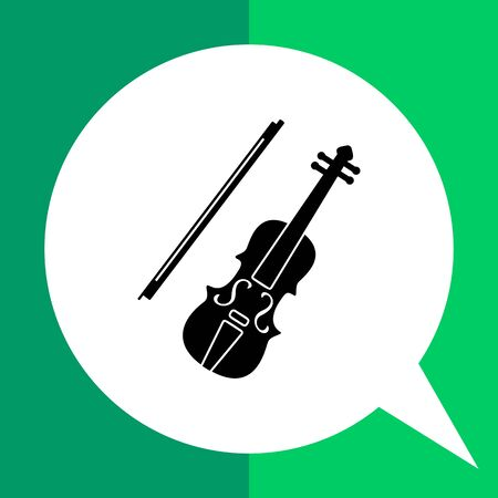 Monochrome vector simple icon of classical violin and bow Illustration