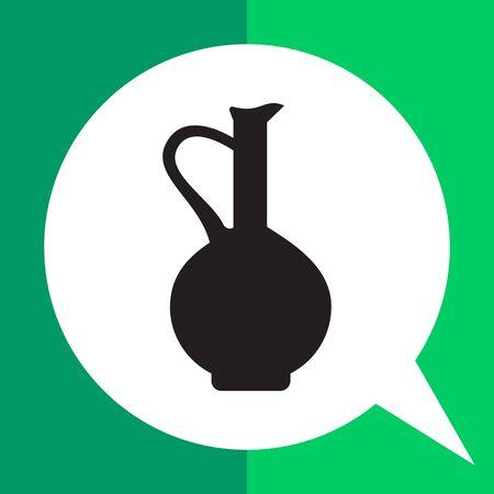 crock: Vector icon of vintage clay jug with handle Illustration