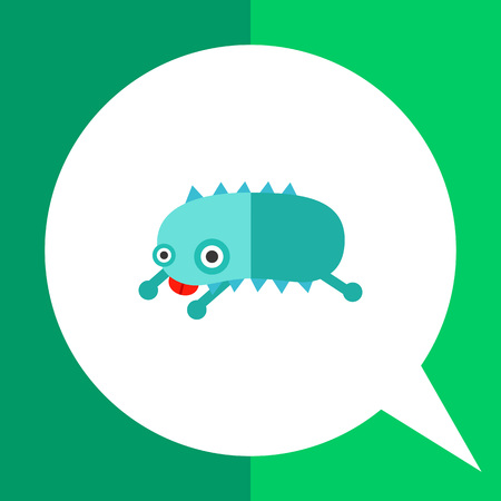 Virus cartoon character flat icon. Multicolored vector illustration of bacterium showing its tongue
