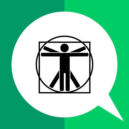 uomo vitruviano: Monochrome vector icon of minimalistic Vitruvian man