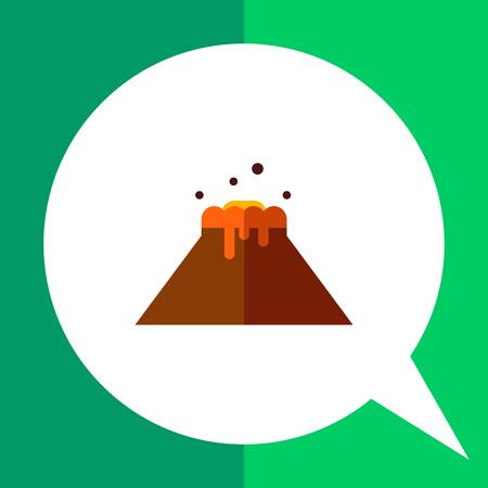 eruption: Multicolored vector icon of volcano eruption and flowing lava