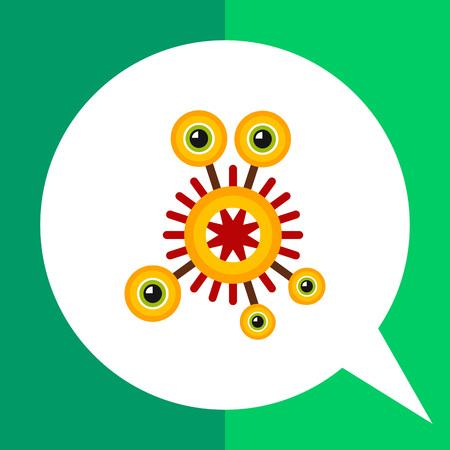 strange: Virus cartoon character flat icon. Multicolored vector illustration of strange bacterium with five eyes