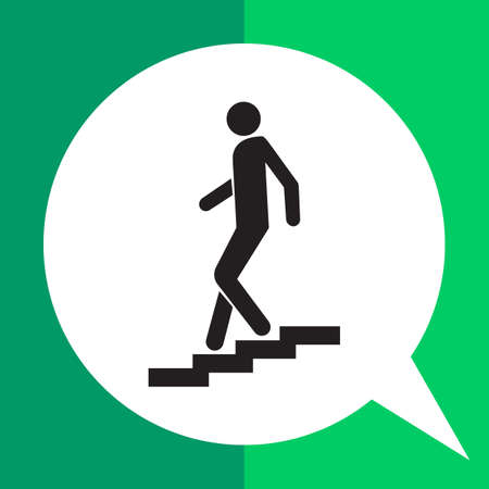 moving down: Vector icon of man silhouette walking down staircase