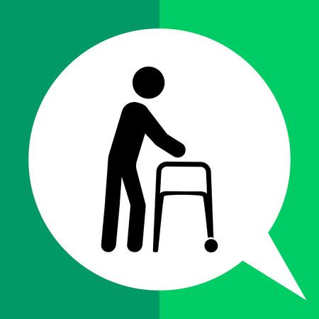 senile: Walker flat icon. Vector illustration of elderly person with walker
