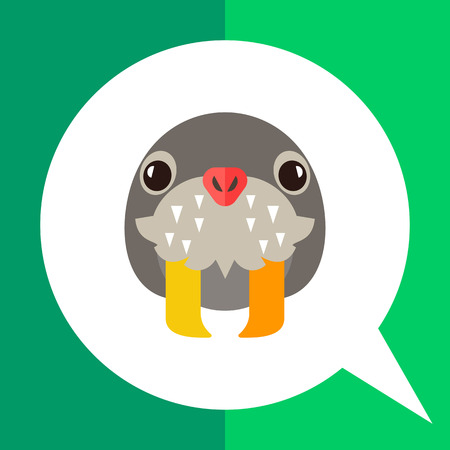 tusks: Multicolored vector icon of walrus head with long tusks