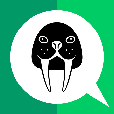 Vector icon of walrus head with long tusks