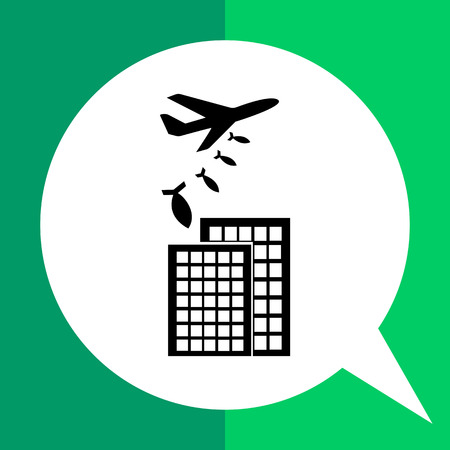 eliminating: War flat icon. Vector illustration of military aircraft bombing buildings Illustration