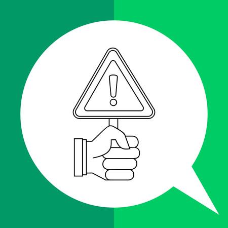 precaution: Vector icon of human hand holding warning sign representing warning and precaution concept