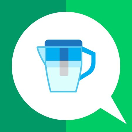 filtering: Vector icon of blue water filter jug