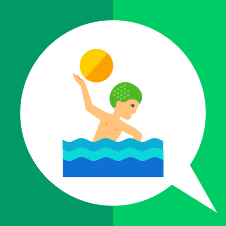 swimming cap: Multicolored vector icon of water polo player swimming and throwing ball Illustration