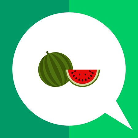 mineral: Vector icon of watermelon and cut slice