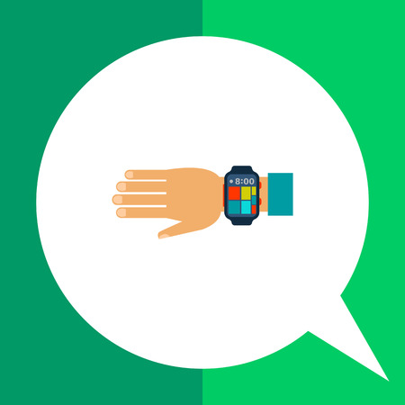 Multicolored flat icon of wearable smartwatch on human hand Illustration