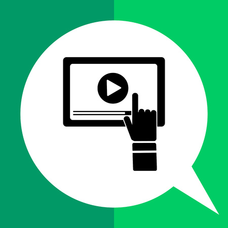 Monochrome vector icon of computer screen with media player sign and human hand representing webinar Illustration