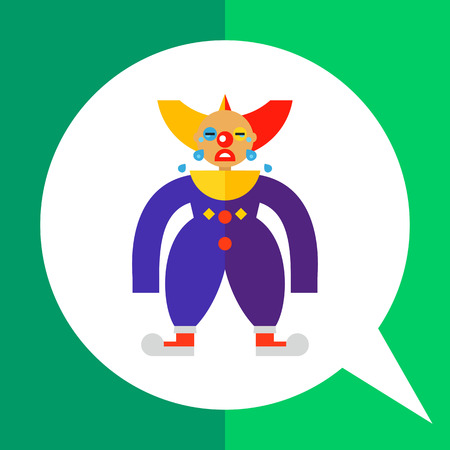 Icon of sad crying clown in colorful costume Illustration