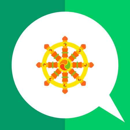 Multicolored vector icon of Indian symbol wheel of Dharma