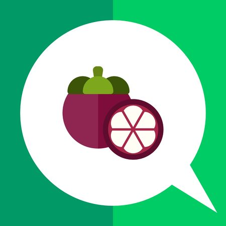 pulp: Multicolored vector icon of whole fruit mangosteen and cut half
