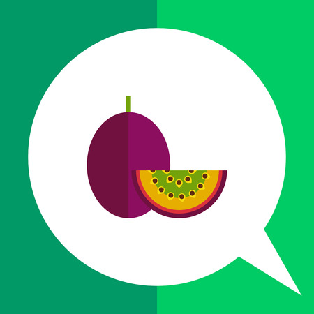 Multicolored vector icon of whole passionfruit and cut piece