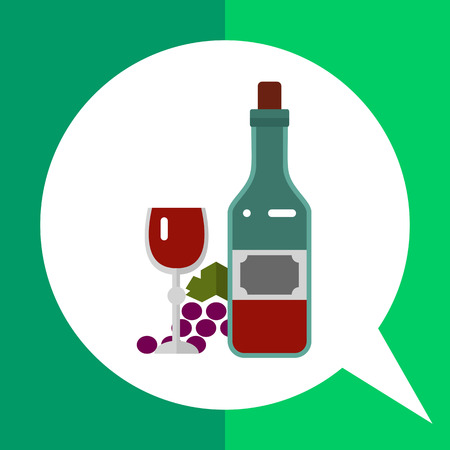 winemaking: Multicolored vector icon of closed wine bottle, glass with vine and grape bunch