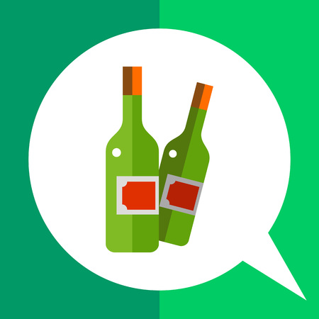 Multicolored vector icon of two closed wine bottles