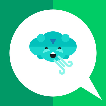 strong wind: Multicolored vector icon of cloud blowing strong wind