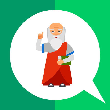 buddhist monk: Wisdom person icon. Multicolored vector illustration of elderly person with book and finger up Illustration