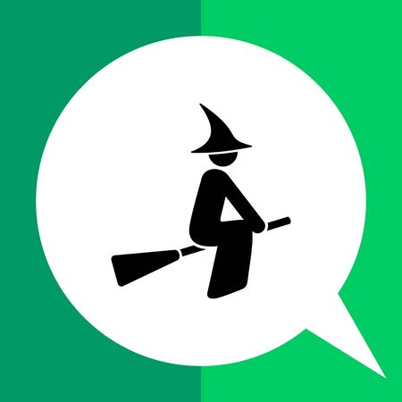 Woman wearing gown and hat and sitting on broomstick. Flying, mystery, horror. Witch concept. Can be used for topics like fairytales, mythology, Halloween. Illustration