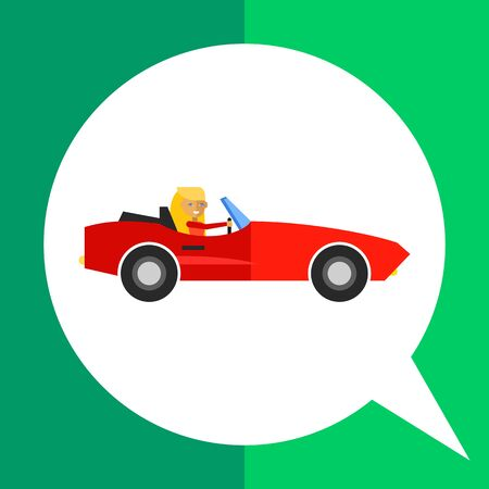 Woman in cabriolet icon. Multicolored vector illustration of female character driving car