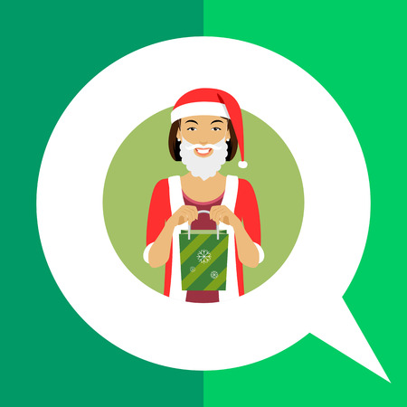 woman holding bag: Female character, portrait of smiling woman wearing Santa costume, holding green gift bag Illustration