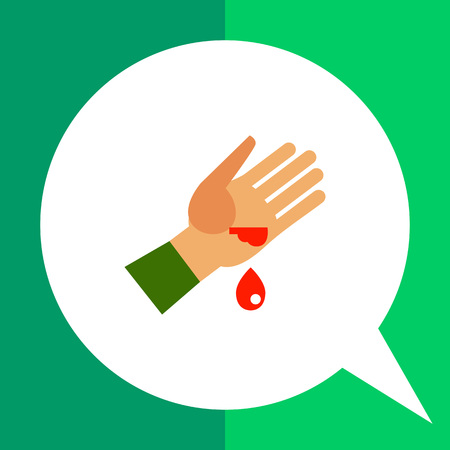 Multicolored vector icon of wounded human palm and blood drop