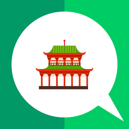 green roof: Image of Japanese red Yasaka shrine with green roof Illustration