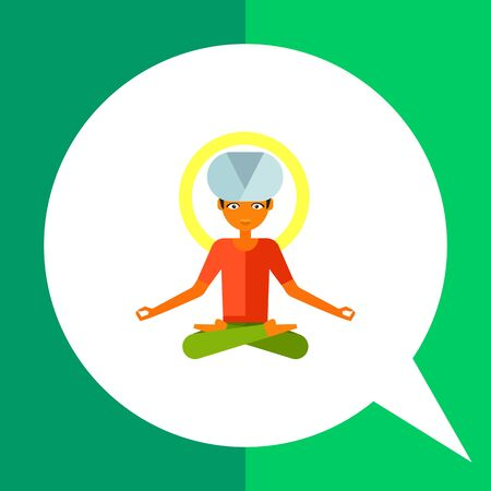 Multicolored vector icon of male character sitting in Lotus position