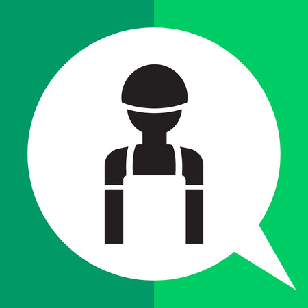 Icon of man silhouette wearing overalls and hardhat Illustration