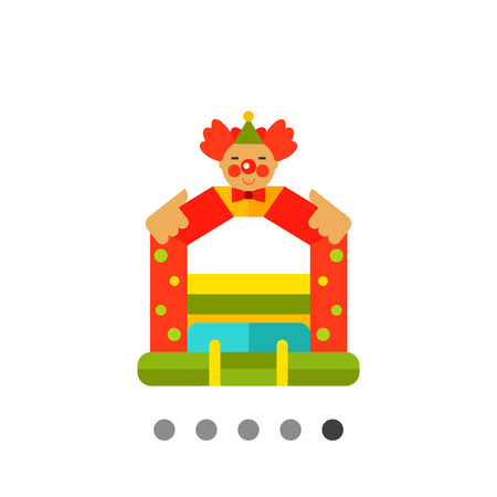 Multicolored vector icon of bouncy castle with clown face on top