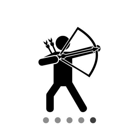letting: Bow man silhouette. Bow and arrows, sport, weapon. Bow man concept. Can be used for sport, leisure activity, weapon Illustration