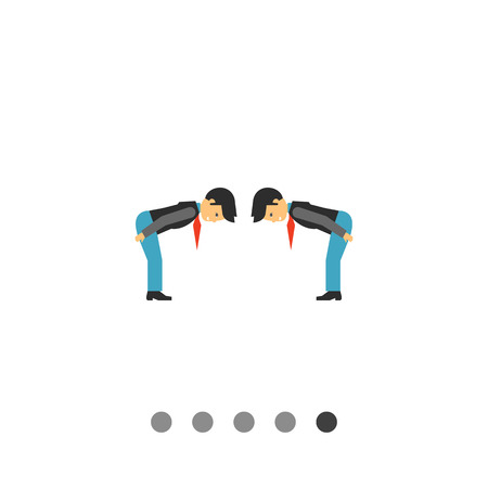 bowing: Multicolored vector icon of two men bowing to each other from waist showing respect Illustration