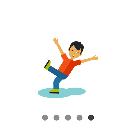 Multicolored vector icon of boy falling on the wet floor
