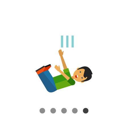 Multicolored vector icon of boy cartoon character who is falling