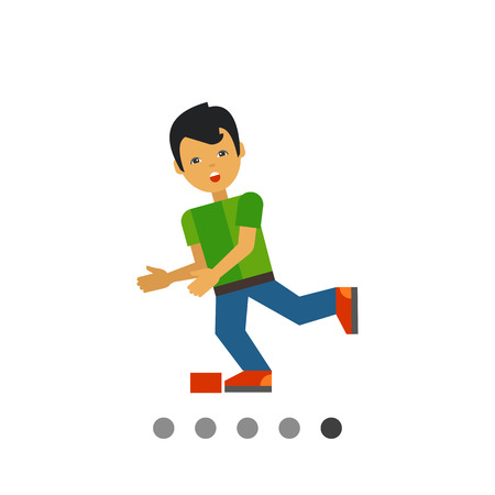 Multicolored vector icon of boy cartoon character who is stumbling Illustration